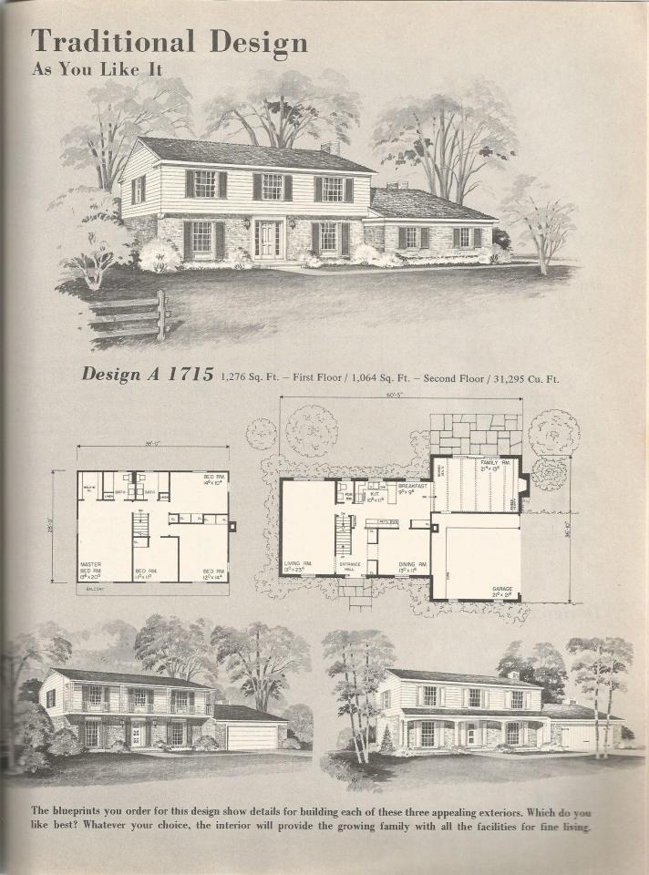 Vintage House Plans, mid century homes DESIGN A 1715 House plans