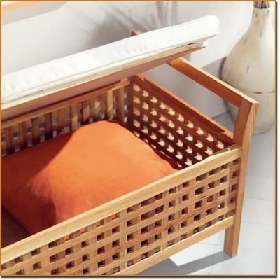 Banc/rangement de salle de bain bois de noyer - Achat ...