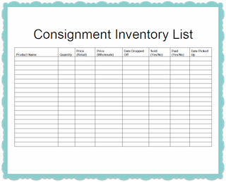 Consignment Inventory Tracking Spreadsheet Business
