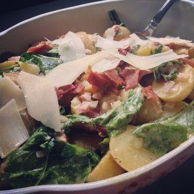Warm potato, arugula and prosciutto salad. #seasonal #eatlocal #foodporn