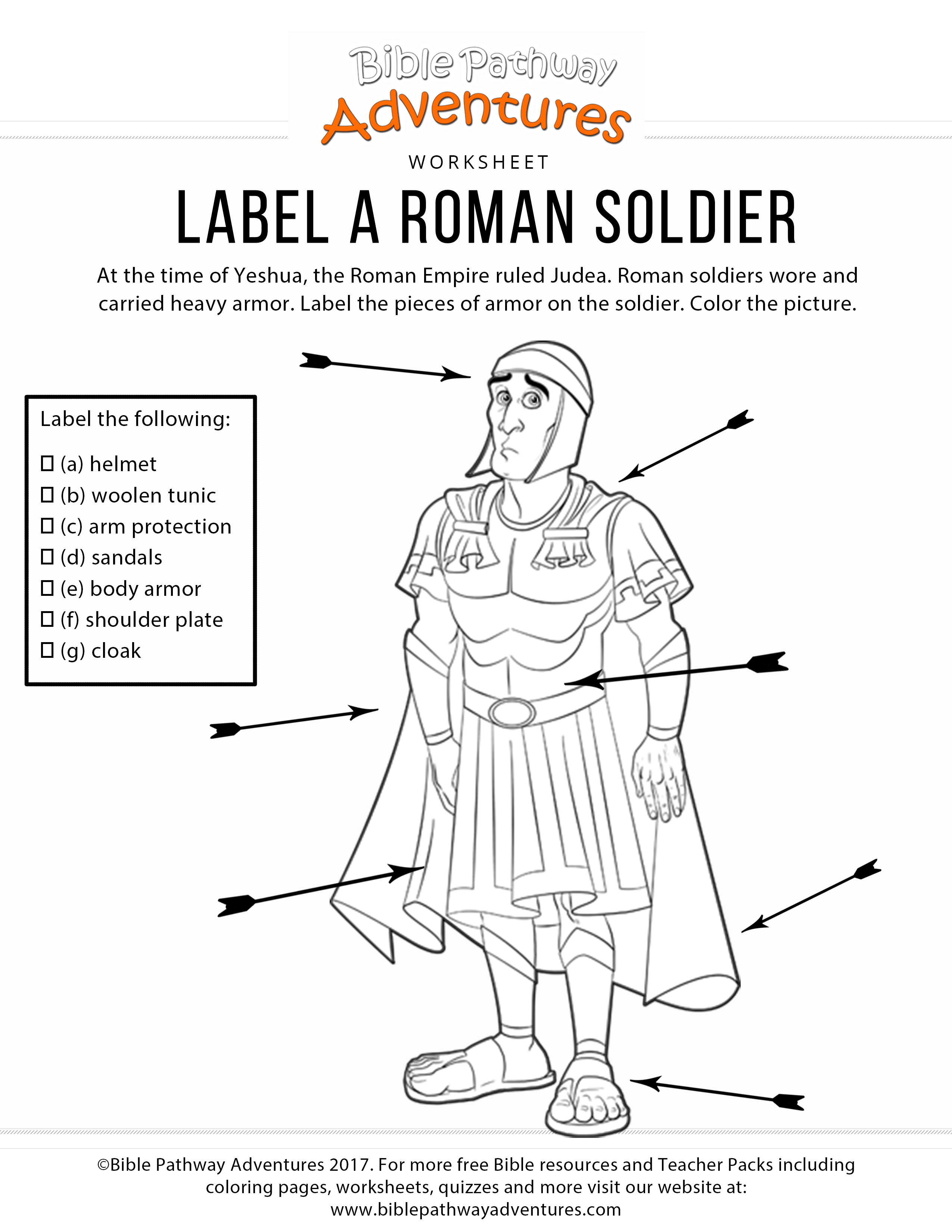 This is a graphic of Nifty Roman Soldier Uniform Labelled