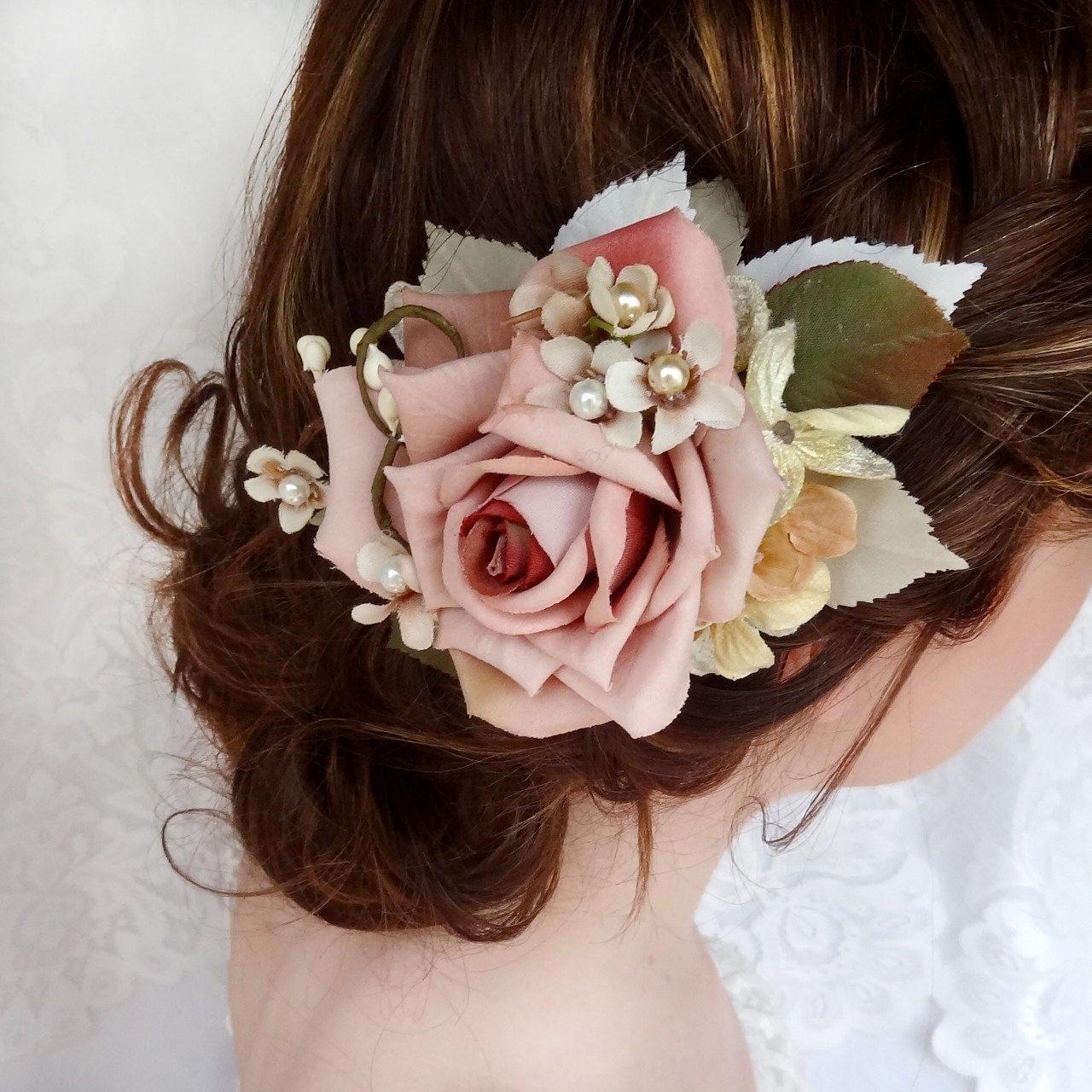 dusty pink flower hair clip, bridal hair accessory, wedding