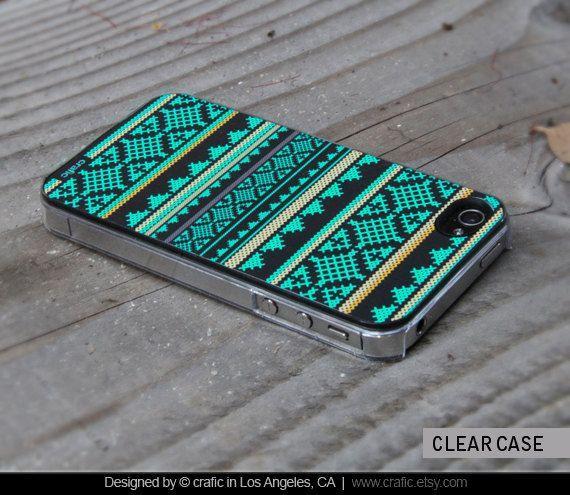iPhone 4 case iPhone 4s case Mint Aztec Design iPhone by CRAFIC, $16.99