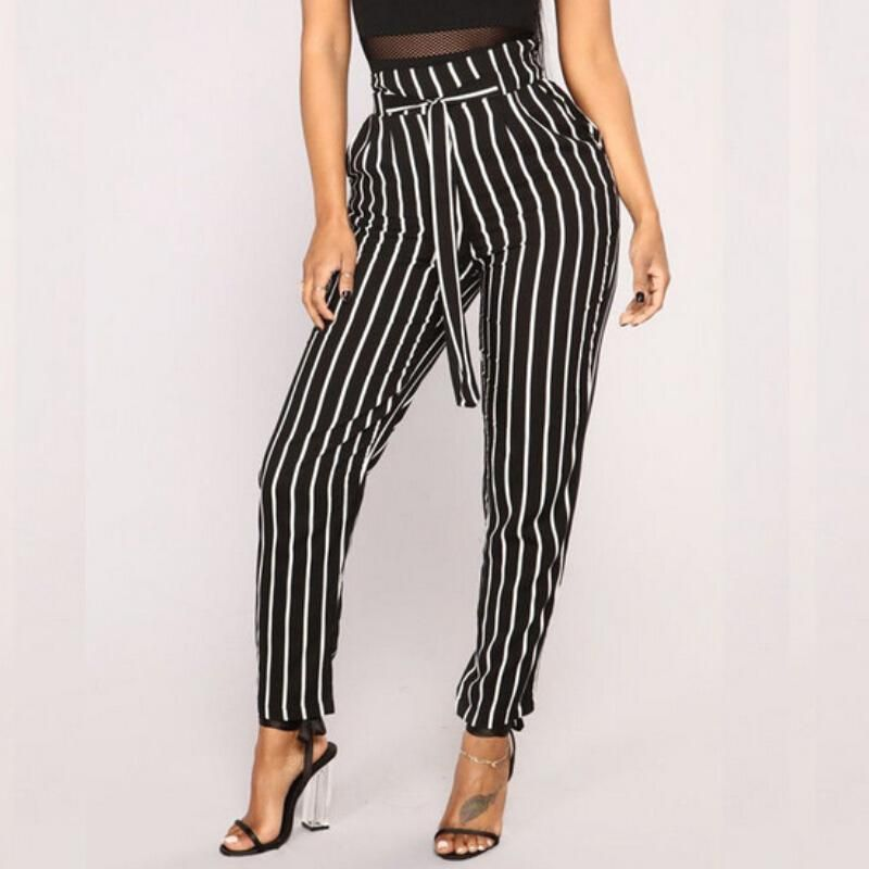 0a4e1b273d28f belt pant women casual high waist striped pants | Fashion | Paperbag ...