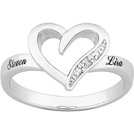 Platinum Plated Sterling Silver Hearts Personalized Promise Ring