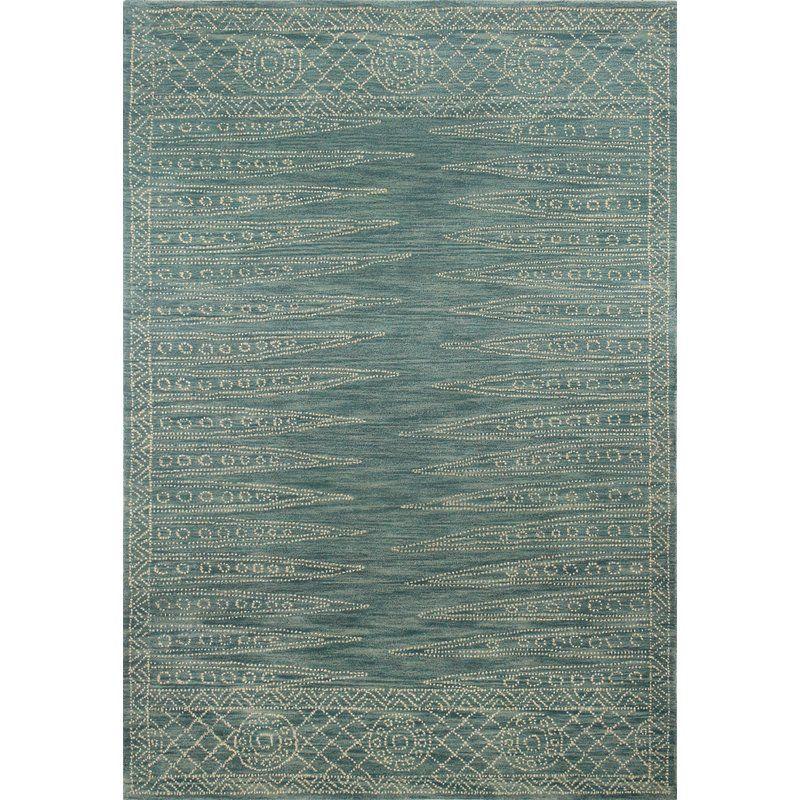 Kiril Hand Tufted Wool Teal Cream Area Rug Area Rugs White Area