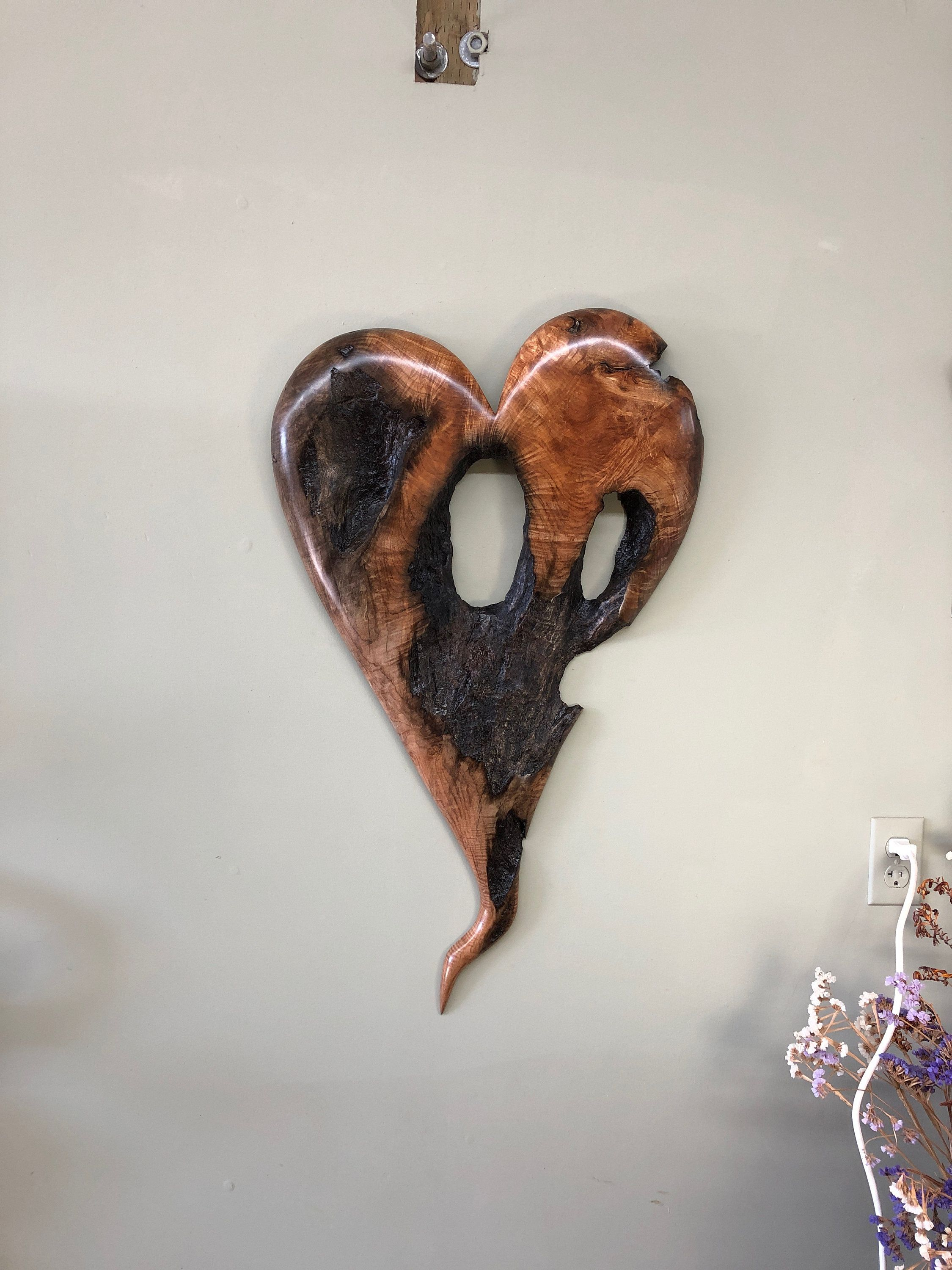 Large Wooden Wall Heart Hanging By Gary Burns Wooden Wall Heart Wood Anniversary Gift Heart Wall