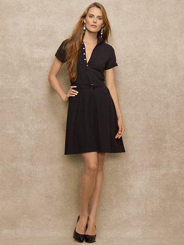 #Cotton Mesh Polo Dress - #RalphLauren #motherofpearl buttons  #beltedatwaist #shortsleeve #