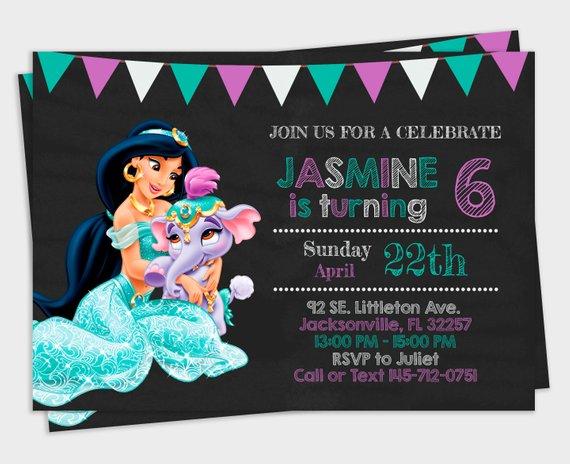 Princess Jasmine Invitation Princess Jasmine Party
