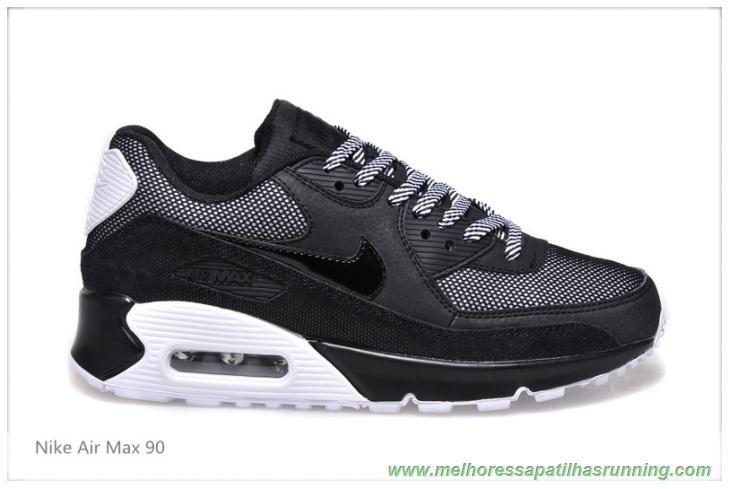 Sapatilhas Running Mulheres Nike Air Max 90 All Preto Branco Cinza