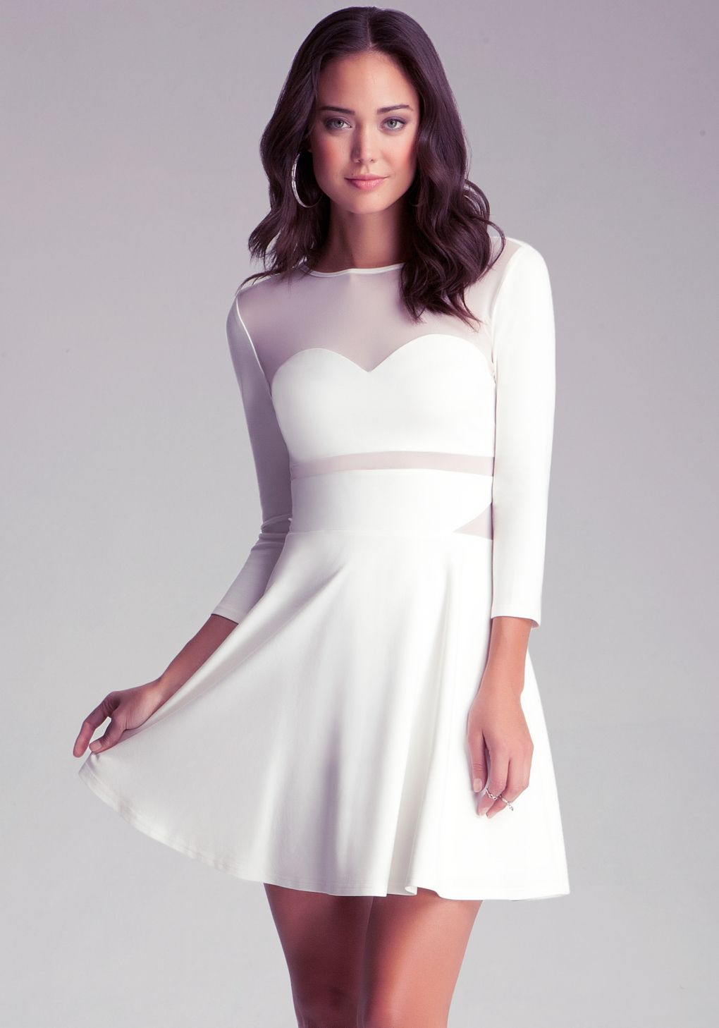 57a744d7e9 Bebe - White Mesh Fit N Flare Dress