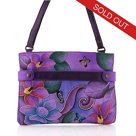 173218061c61 Anuschka Hand-Painted Leather Zip Top Expandable Pocket Crossbody ...