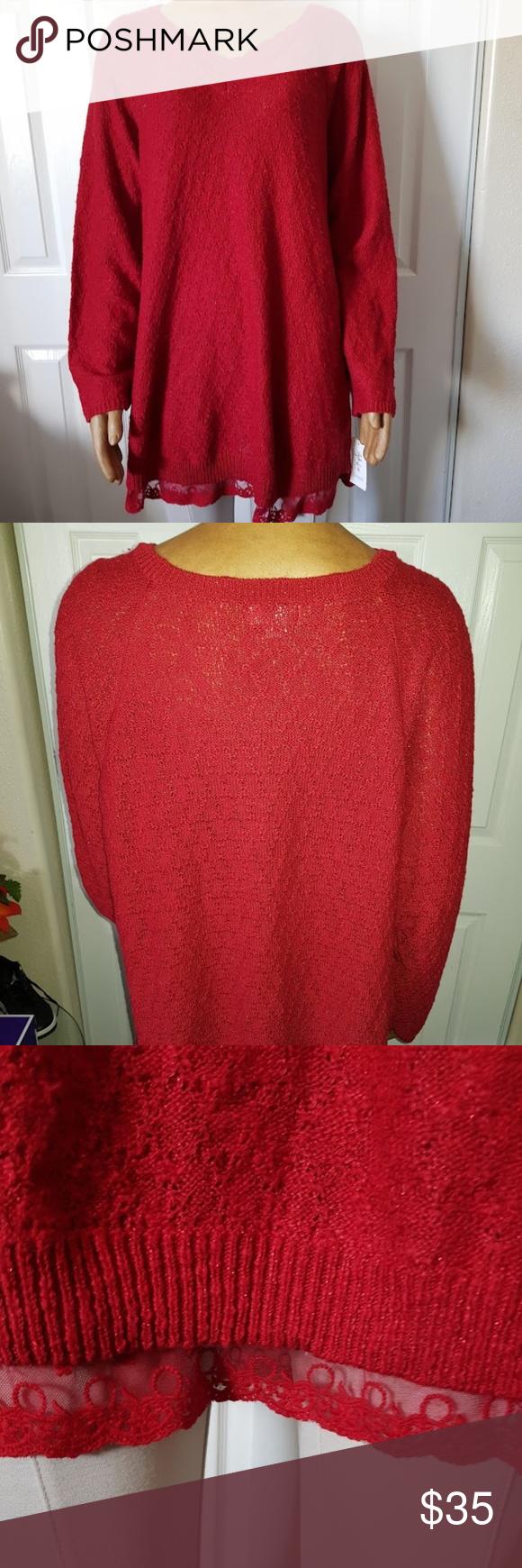 8560edb69baaa Style Co Plus Size Lace-Trimmed Tunic Canyon Red Body 53% Cotton 40%  Acrylic 5% Polyester 2% Metallic Trim 51% Cotton 49% Nylon  391 Style   Co  Tops Tunics