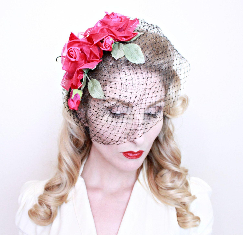 1950s Fascinator Hat 50s Vintage Red Rose Blusher Veil