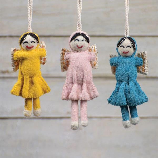 Homart Felt Sequin Angel Ornaments Set Of 6 Teal Yellow Pale Pink Ornament Set Homart Angel Ornaments