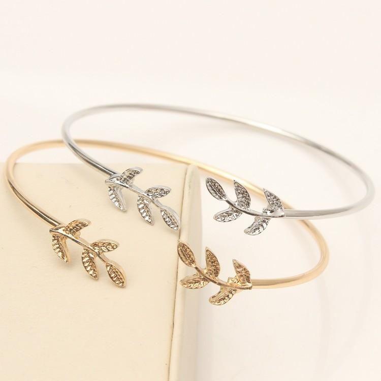 Gold & Silver Leaf Bangles Shop styledrestyled.com | Open bangle bracelet,  Metal cuff bracelet, Womens bracelets