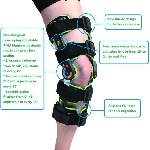 ad7b723b53 Amazon.com: Orthomen Post op Knee Brace with ROM motion control [  Osteoarthritis Knee Brace ] - Size: Universal: Sports & Outdoors