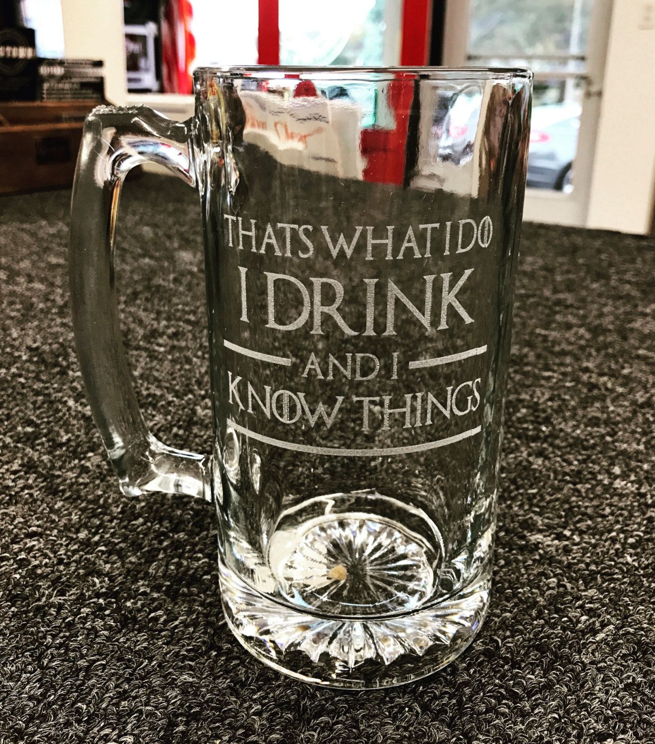 Game of Thrones glass beer mug engraved gift for him