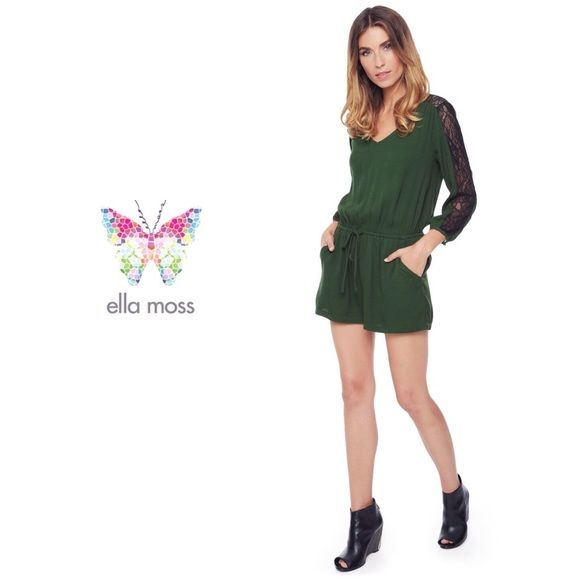 ELLA MOSS Lace Romper A drawstring waist defines the relaxed silhouette of an airy romper topped with an elegant V-neckline, while insets of black lace reveal subtle sections of transparency on this sophisticated style. Back keyhole with three-button closure. Front slash pockets. Long sleeves with single-button cuffs. 54% viscose, 46% rayon By Ella Moss; Ella Moss Dresses