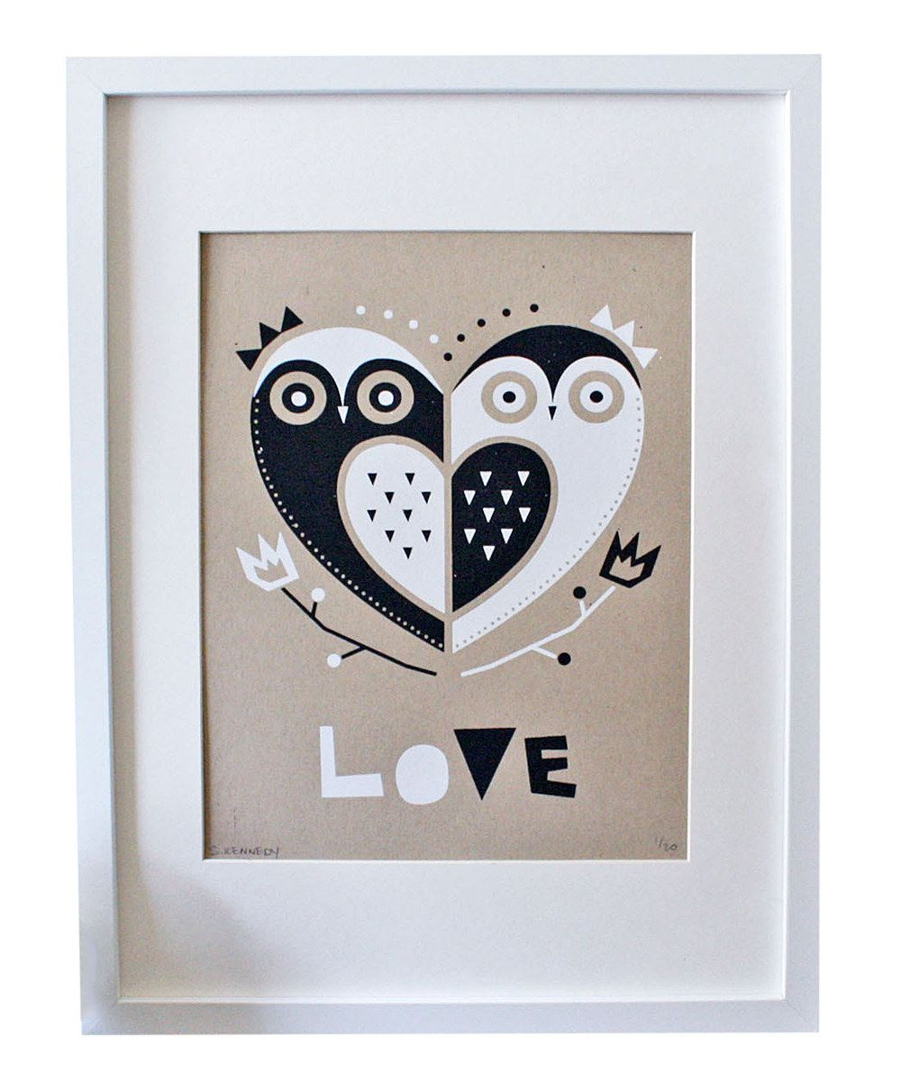 Owl 'Love' Screen Print