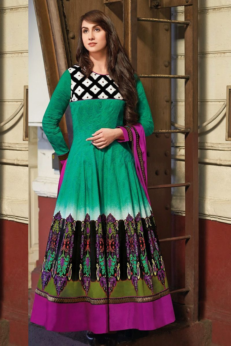Green cotton party wear suit party wear salwar kameez on variation