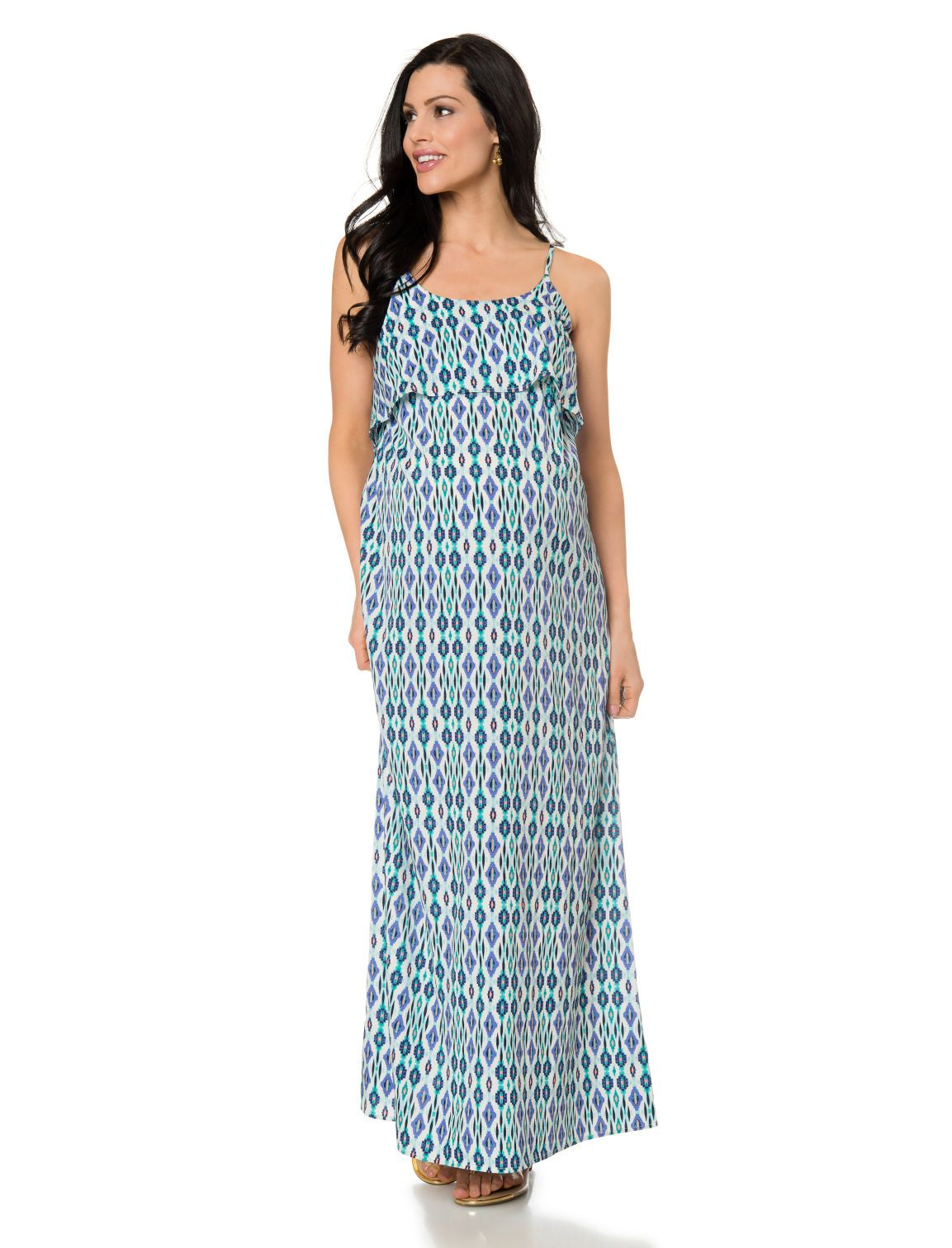 82f49f47b123e Sleeveless ruffle front maternity maxi dress available at Destination  Maternity | Babymoon Packing Essentials