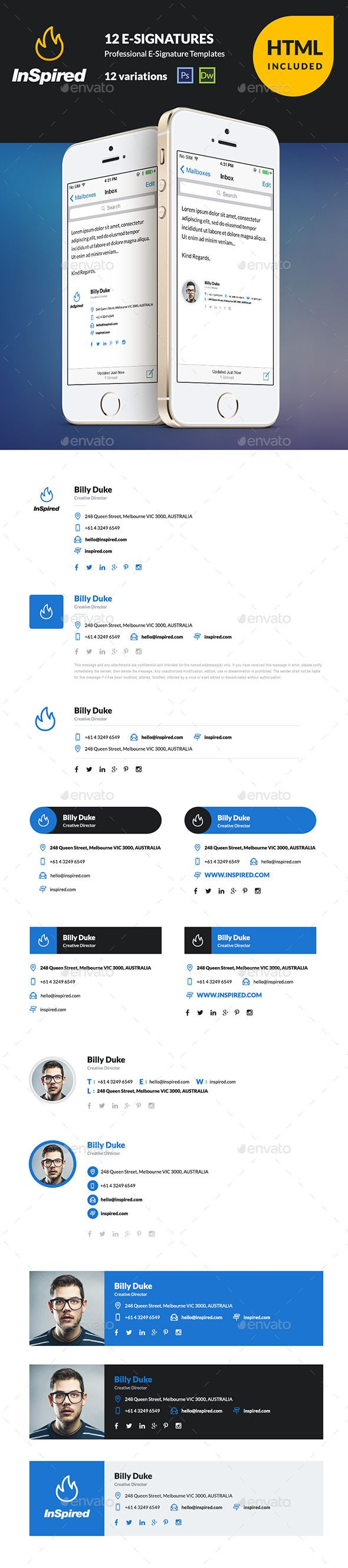InSpired 12 HTML Professional ESignatures Template PSD