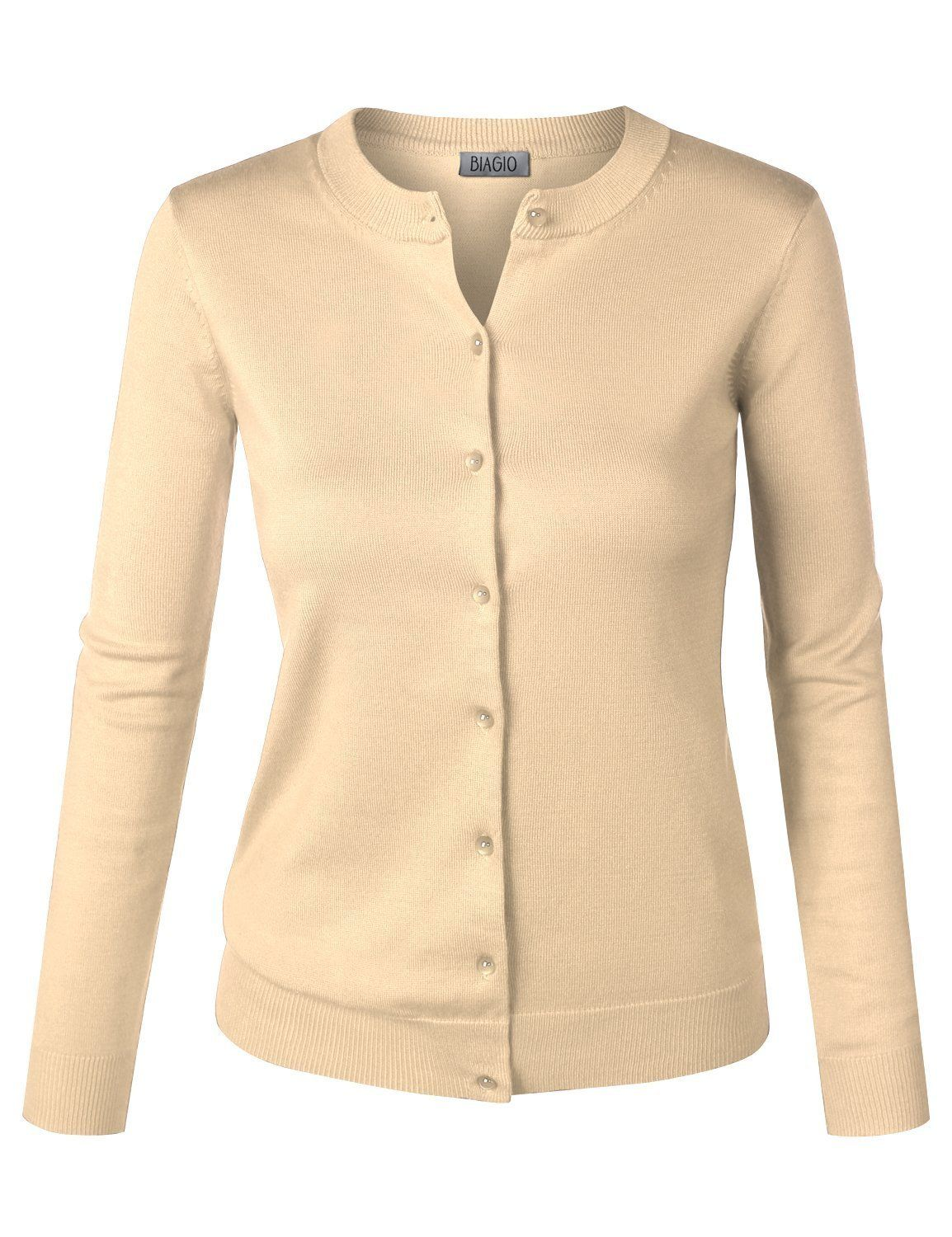 BIADANI Women Button Down Long Sleeve Soft Knit Cardigan Sweater ...