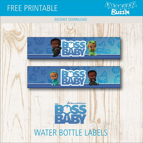 Free Printable African American Boss Baby Water Bottle Labels Birthday Buzzin In 2020 Water Bottle Labels Birthday Boss Baby Bottle Labels