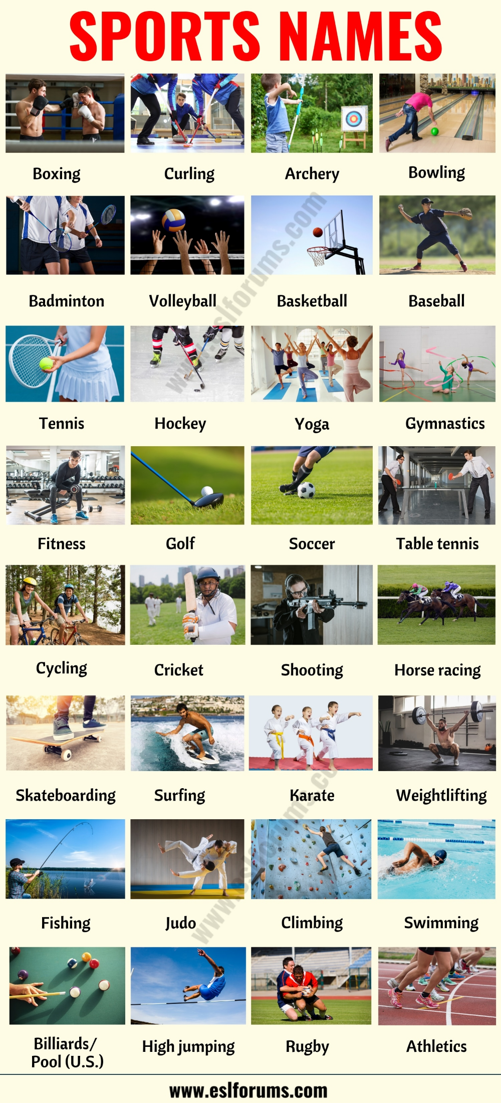List Of Different Sports