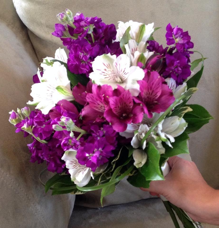 Fuchsia Wedding Flowers: Bridal Bouquet Done With Fuchsia & White Alstromeria
