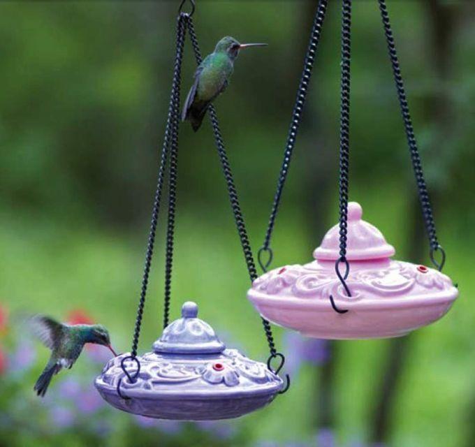 Unique Fairy Garden Miniature Heart-Shaped Blown Glass Hummingbird Feeder