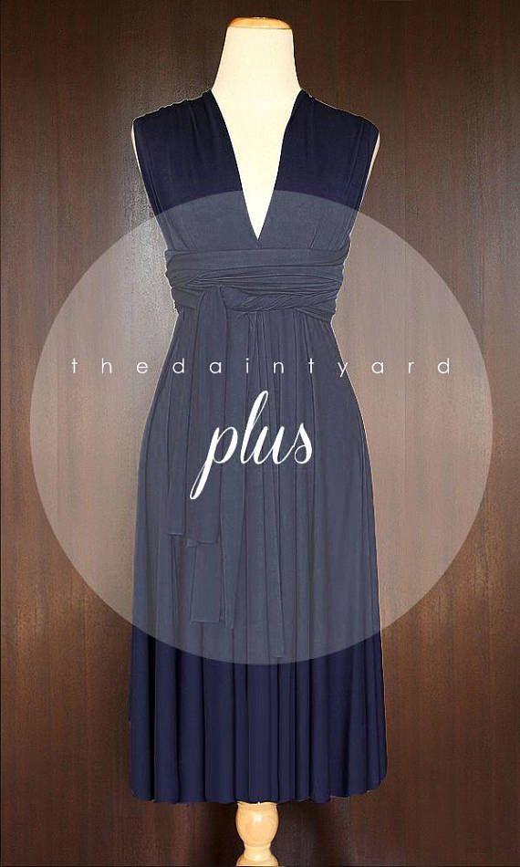 Tdy Plus Size Short Straight Hem Navy Blue Bridesmaid Dress