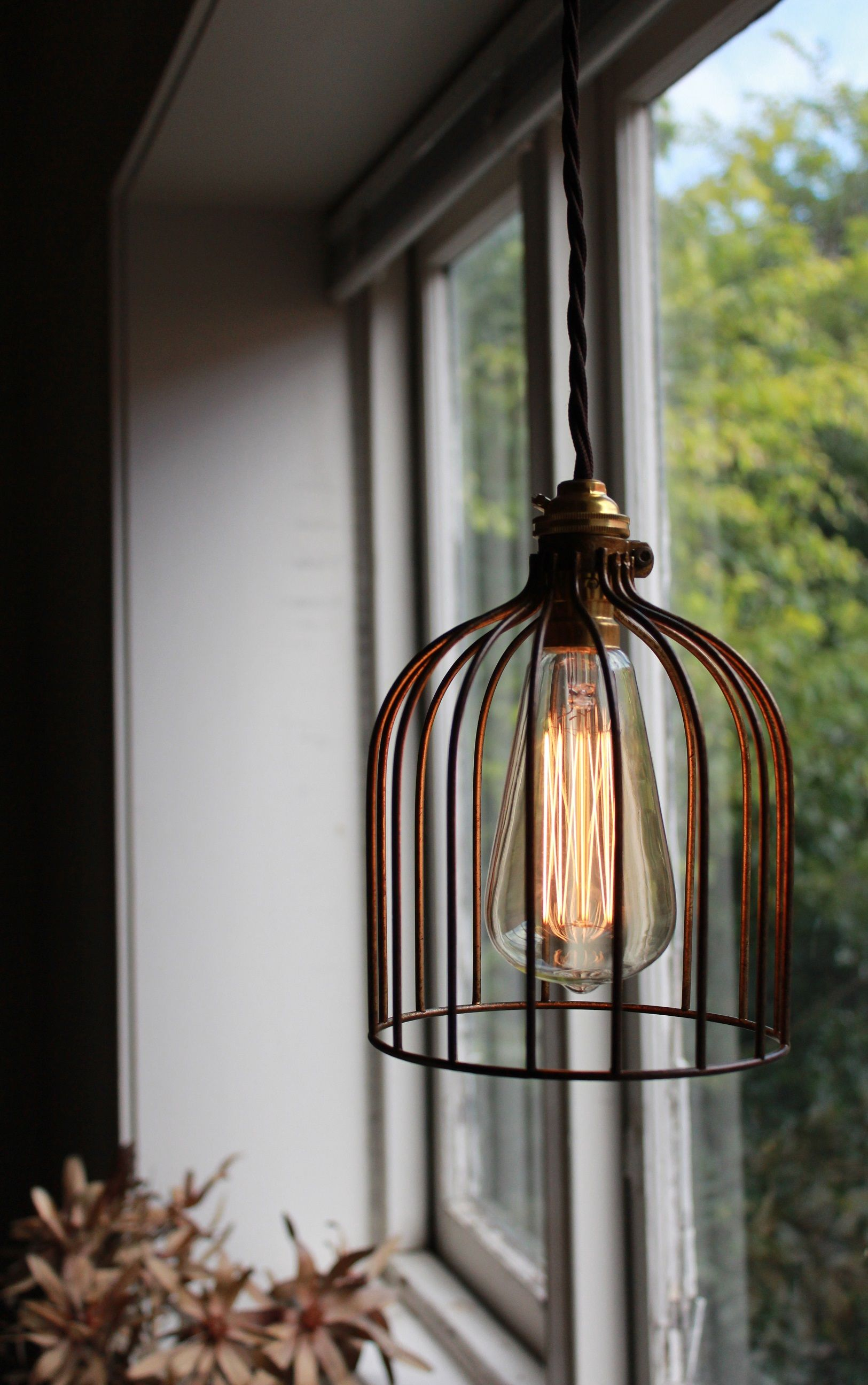 Rustic bronze wire cage pendant light shade with brown twist cloth