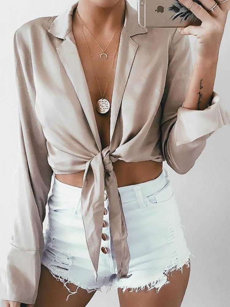 Fashion Notched Collar Knotted Cropped Blouse