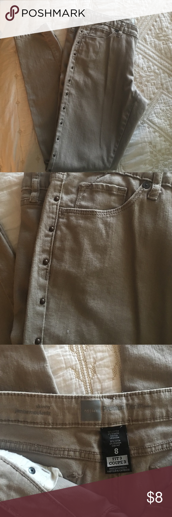 Skinny Mossino Supply co jeans size 8 Skinny Mossino Supply Co. Jeans size 8.  Brass studs along legs. Camel/tan color. Great condition Mossimo Supply Co. Jeans Skinny