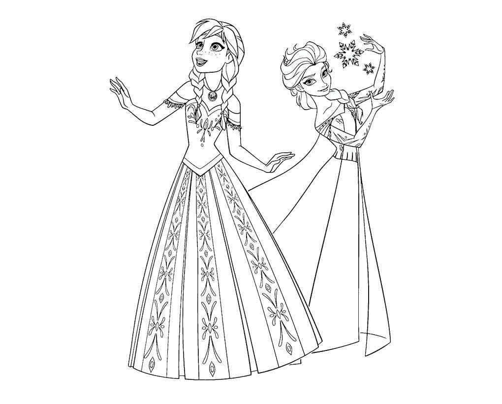 Elsa Y Anna Para Colorear Dibujos Sketches Color Disney