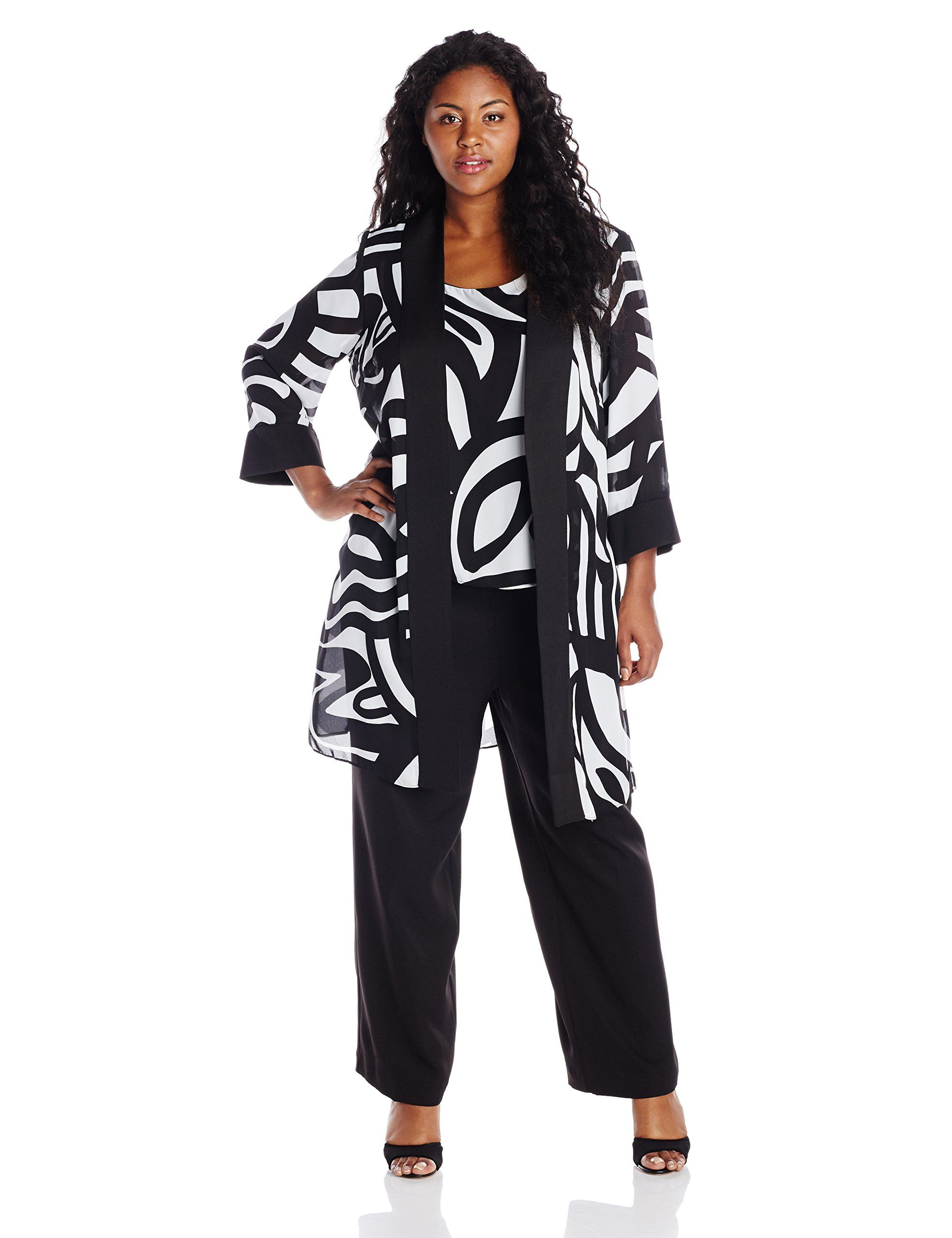 345832f7611 Dana Kay Women s Plus-Size 3 4 Sleeve Printed Pant 3 Piece Set with Jacket