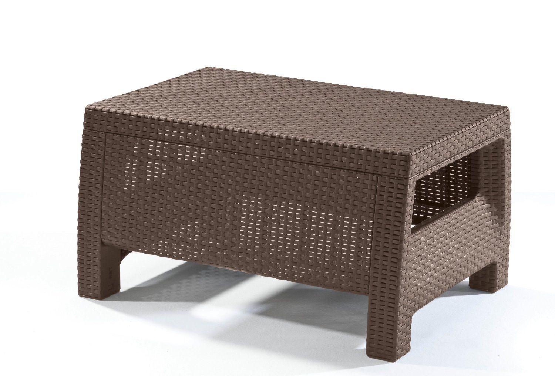 Keter Corfu Ottomans Table Plastic Patio Furniture Backyard