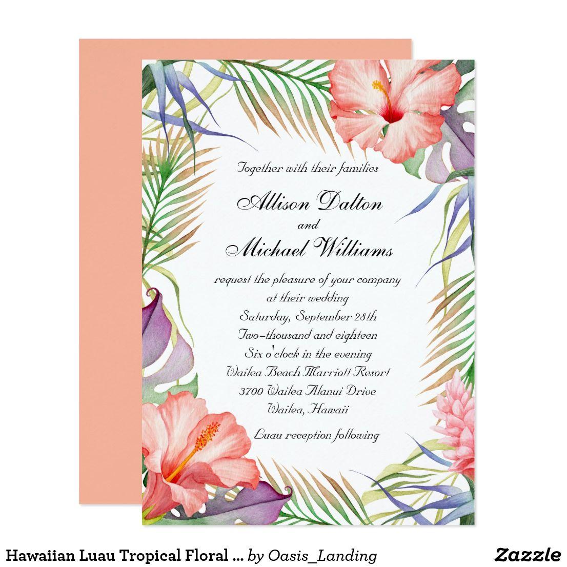 Hawaiian Luau Tropical Floral Wedding Card - This colorful floral ...