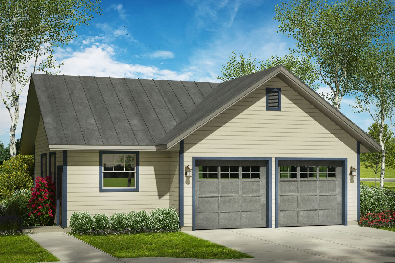This County Style Garage Design Can House Up To Two Cars Both Garage Doors Are 9 Wide And 8 Tall To The Lef Garage Workshop Plans Garage Design Garage Plan