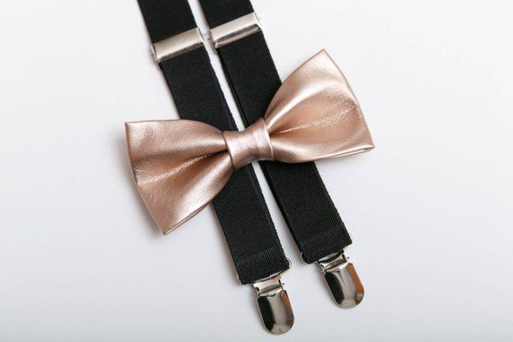 Gold Sequin Suspenders /& Gold Metallic Finish Shiny Bow Tie Set Classic Combo