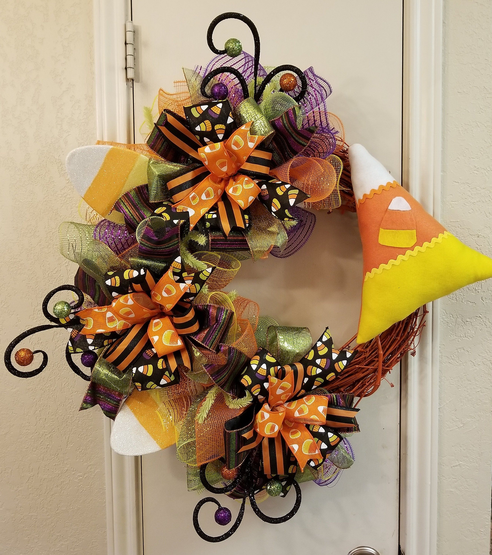 Halloween Wreath, Candy Corn Wreath, Fall Wreath, Candy Corn Decor,