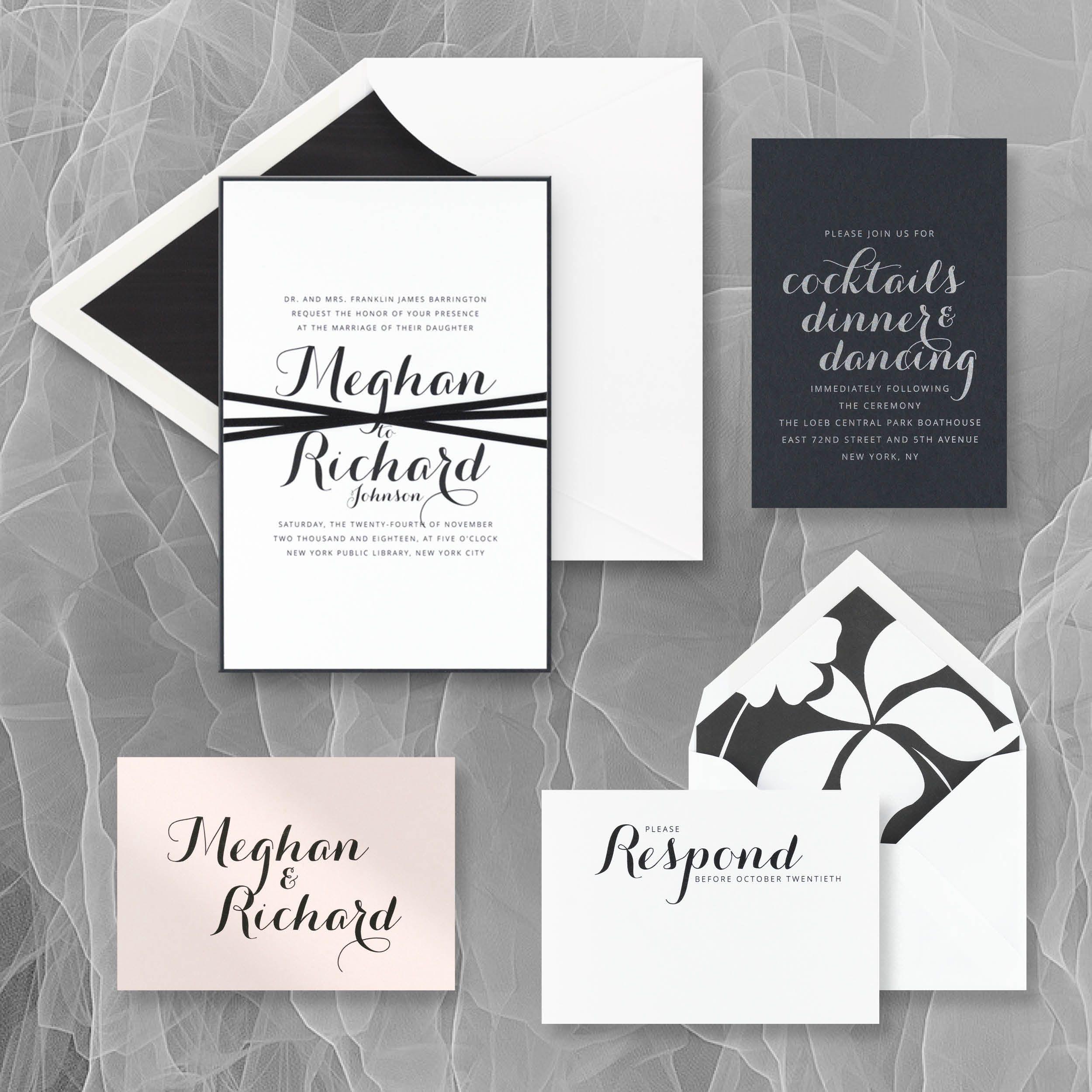 calligraphic romance invitation suite fro checkerboard and the editors at brides magazine brides - Checkerboard Wedding Invitations