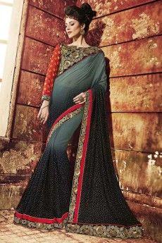 Andaaz Fashion presents Designer Black saree with maroon blouse   http://www.andaazfashion.co.uk/womens/sarees/black