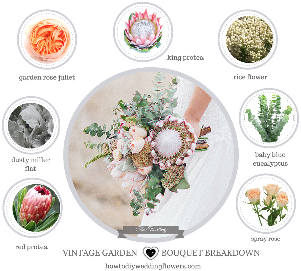 King Protea Bouquet Breakdown Vintage Garden Wedding How To Make A