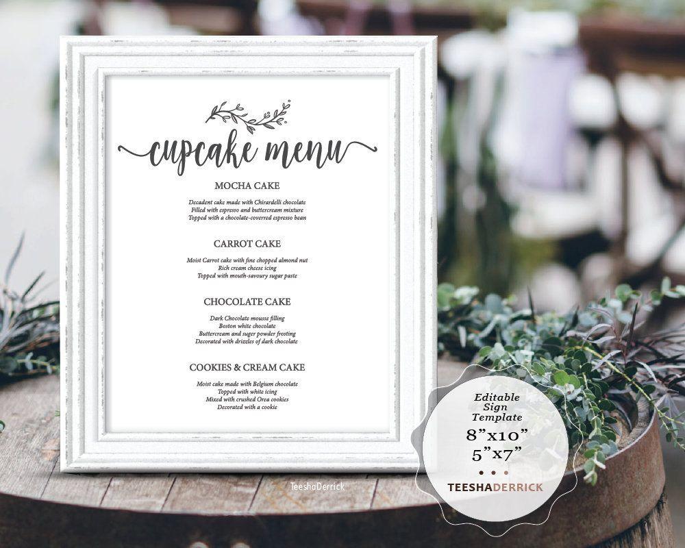 Wedding Cupcake Menu Sign Editable Pdf Template Sign Dessert Sign Wedding Party Signage Rust Wedding Bar Menu Sign Bar Menu Wedding Wedding Drink Menu Sign