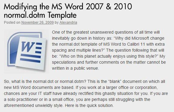 word 2007 normal dotm