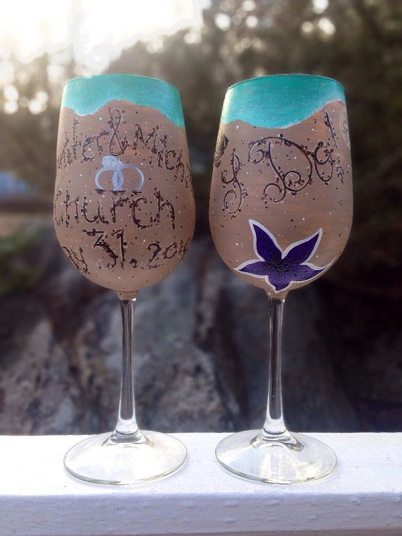 Hand painted wedding beach wine glasses MADE by ArianaVictoriaRose ...