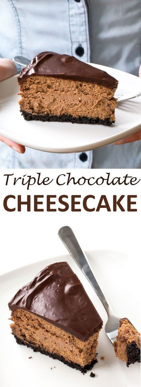 Soft and Creamy Triple Chocolate Cheesecake. Oreo Cookie crust layered with chocolate cheesecake and topped with chocolate ganache. The perfect cheesecake for chocolate lovers! | chefsavvy.com #recipe #triple #chocolate #cheesecake #dessert #cream #cheese